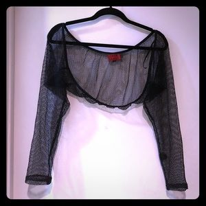 Rare Torrid Tripp NYC black fishnet shrug sleeves